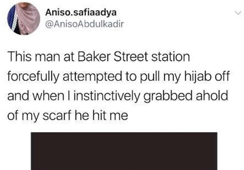 اعتداء عنصری على إمرأة مسلمة فی مترو لندن + صورة