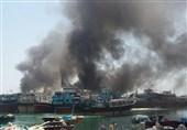 آتش سوزی در اسکله چند منظوره کنگان/7 لنج در آتش سوخت+تصاویر و فیلم