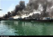 آتش سوزی در بندر صیادی کنگان - بوشهر