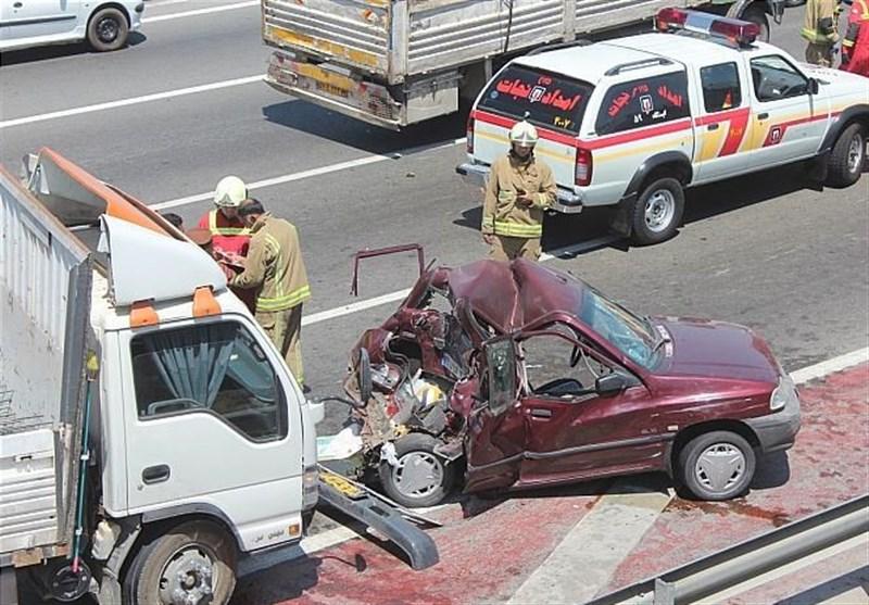تصادف پراید با کامیونت