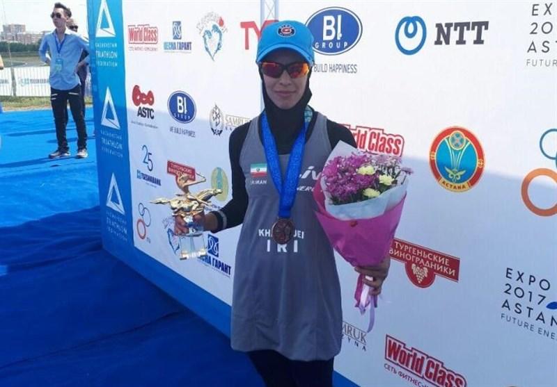 مدالآوری بانوی سهگانهکار ایرانی در مسابقات قهرمانی آسیای میانه