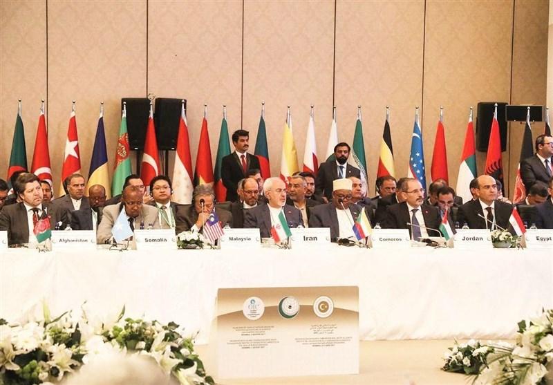 ظریف: یجب على الدول الاسلامیة عدم الانخداع بالمواقف الجوفاء والوعود الواهیة الصهیونیة