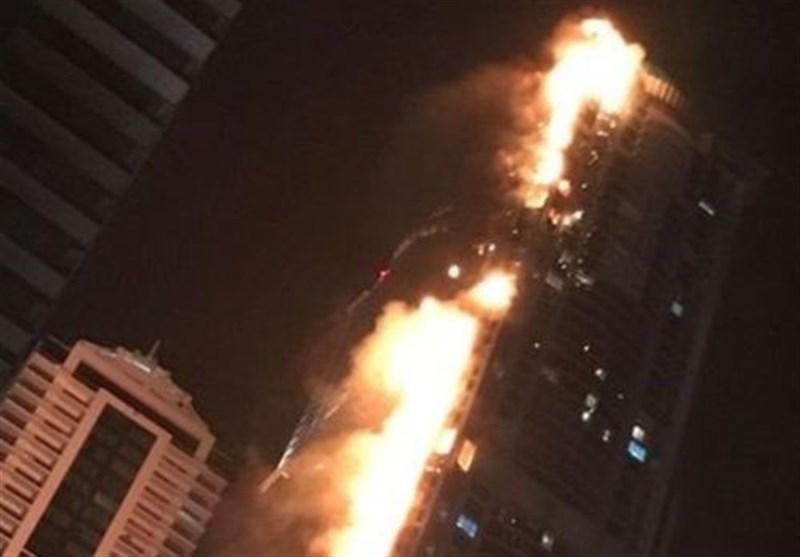 """حریق ضخم فی """"برج الشعلة"""" فی دبی"""