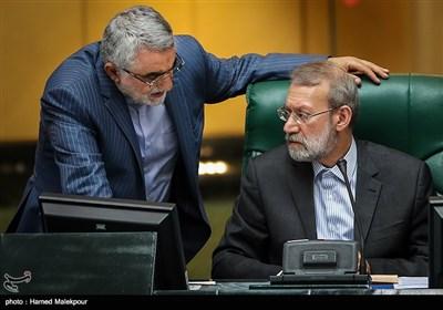 گفتوگوی علی لاریجانی رئیس مجلس شورای اسلامی و علاءالدین بروجردی