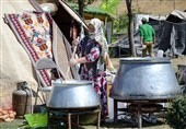 نشاط گردشگری در اردبیل اسوه شد؛ دورهمی سفره ایرانی در منطقه گردشگری «بولاغلار» + فیلم