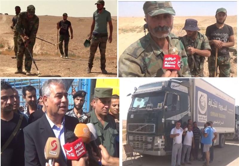 وصول قوافل المساعدات إلى دیر الزور بعد تأمین الطریق وإزالة ألغام داعش +فیدیو وصور