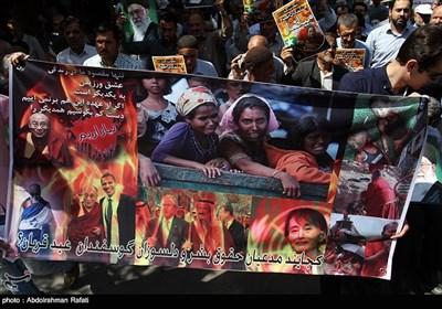 راهپیمائی مردم همدان در محکومیت کشتار مسلمانان میانمار