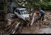 جاری شدن سیل در روستاهای لنگرود - گیلان