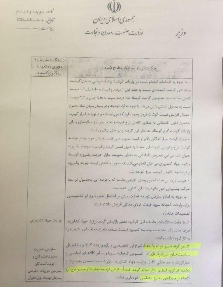 تغییر تعرفه واردات گوشت قرمز و اختصاص ارز مبادله ای در آستانه محرم + سند