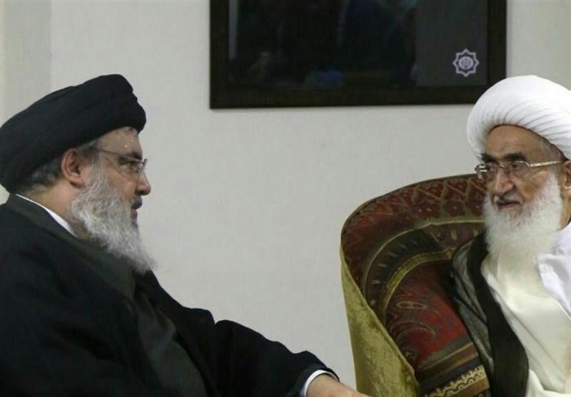السید نصر الله یلتقی المرجع الدینی آیة الله نوری همدانی