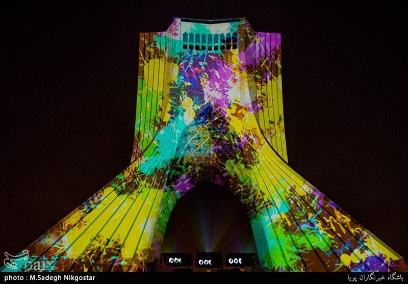 اجرای ویدیو میپینگ بر دیواره برج آزادی به مناسبت دهه فجر