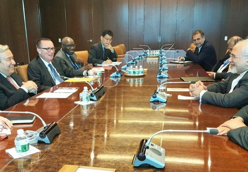 نیویارک میں اقوام متحدہ کے سیکریٹری جنرل کے ساتھ ظریف کی ملاقات