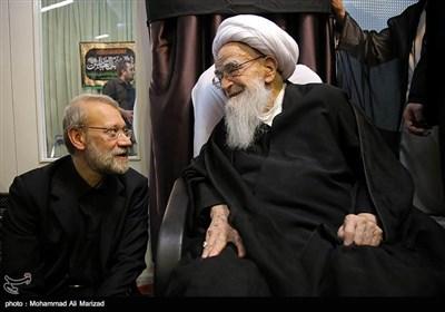 حضور رئیس مجلس شورای اسلامی درعزاداری بیت آیت الله صافی گلپایگانی