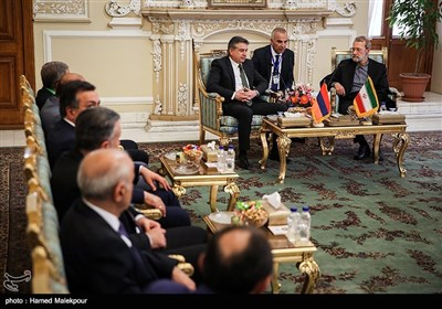 دیدار کارن کاراپتیان نخست وزیر ارمنستان و هیئت همراه با علی لاریجانی رئیس مجلس شورای اسلامی