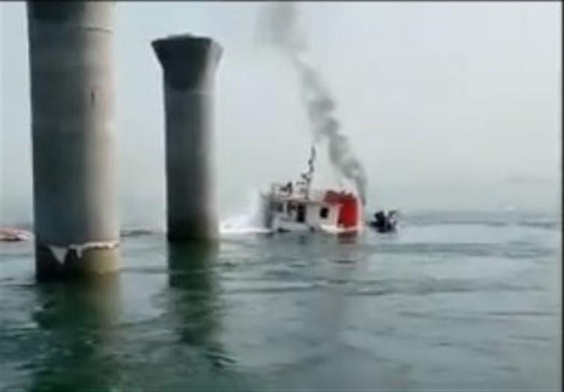 غرق کشتی باربری ایرانی در کویت+فیلم