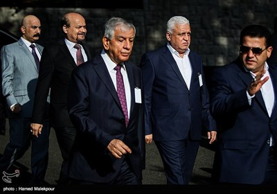فالح فیاض مشاور امنیت ملی و رئیس تشکیلات الحشدالشعبی عراق در مراسم استقبال رسمی از نخست وزیر عراق