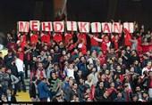 حاشیه بازی پارس جنوبی - تراکتورسازی|پرچم ژاپن در دستان هواداران تراکتورسازی و شعار علیه فروزان+عکس