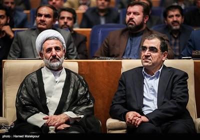 سیدحسن قاضیزاده هاشمی وزیر بهداشت و حجتالاسلام مجتبی ذوالنور در همایش ملی پدافند غیرعامل