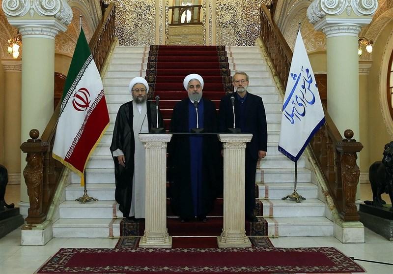 رییس جمهور در پایان جلسه روسای سه قوه و در جمع خبرنگاران: مردم ایران به توطئه اصلی آمریکا برای ایجاد یاس و ناامیدی، پاسخ قاطع دادند/ برای سناریوهای مختلف، برنامه داریم