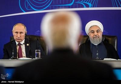 المؤتمر الصحفی لرؤساء جمهوریة ایران وروسیا واذربایجان