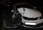 مصدومیت 4 خانم بر اثر تصادف M.V.M با موانع سیمانی + تصاویر