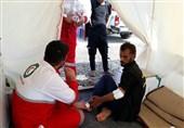 خدمترسانی نجاتگران هلال احمر مسجدسلیمان در مرز چذابه