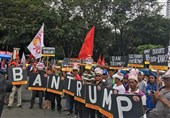 تظاهرات ضدترامپ مقابل سفارت آمریکا در مانیل + فیلم