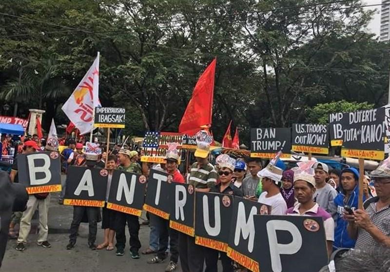 مظاهرات مناهضة لترامب أمام مقر السفارة الامریکیة فی الفلبین+فیدیو