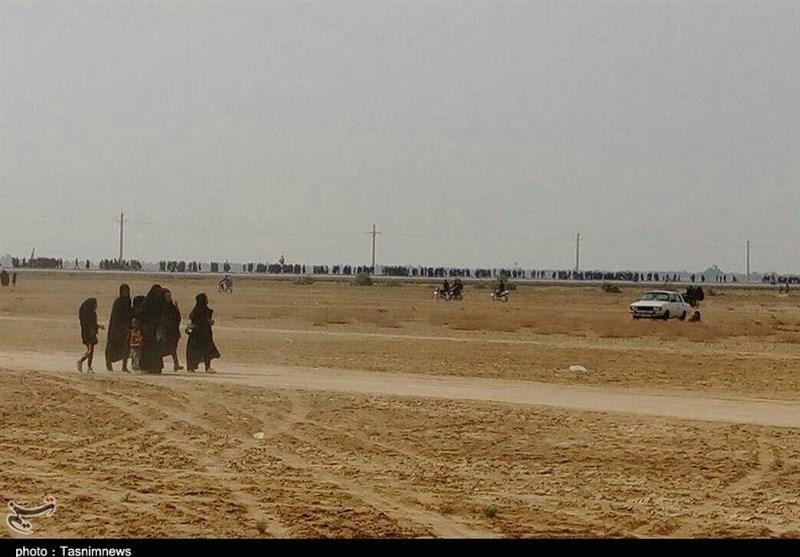 پیادهروی 17 کیلومتری مردم خوزستان تا قدمگاه حضرت عباس(ع) شادگان