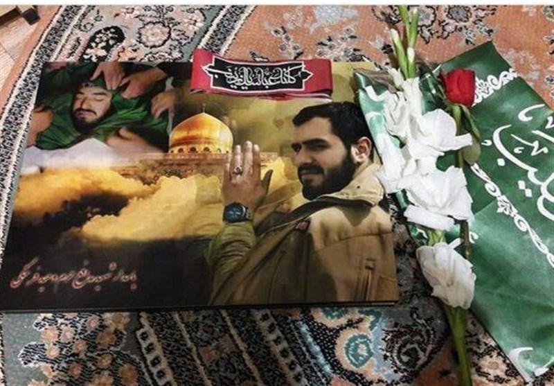 وداع جانسوز همسر شهید مدافع حرم وحید فرهنگی با پیکر او+عکس و فیلم