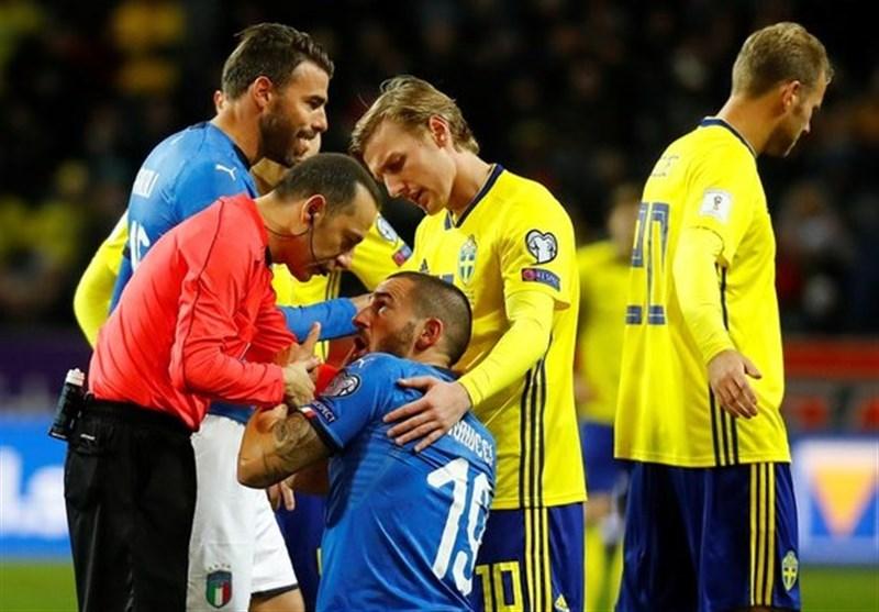 بونوچی با ماسک محافظ مقابل سوئد بازی میکند
