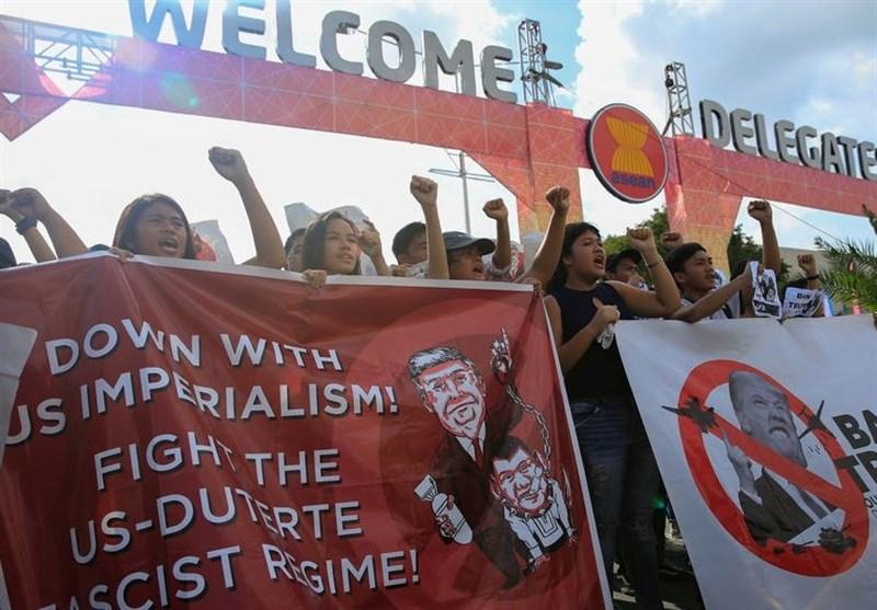تظاهرات معترضان به سفر ترامپ به فیلیپین به خشونت کشیده شد