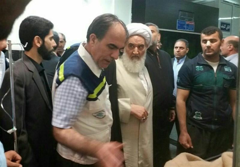 عیادت امام جمعه کرمانشاه از مصدومین زلزله در بیمارستان آیتالله طالقانی