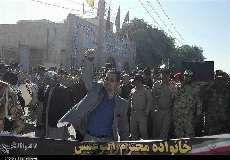 تشییع پیکر سرباز جانباخته خرمشهری در زلزله کرمانشاه + تصاویر