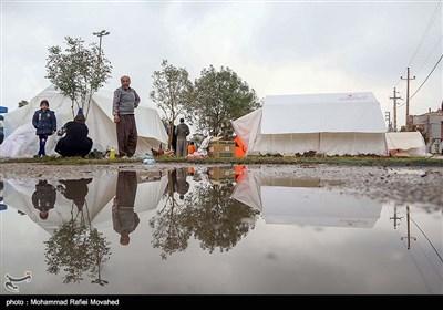 بارش باران در مناطق زلزله زده
