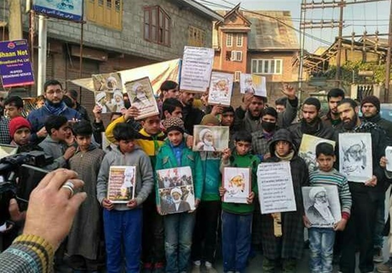 مقبوضہ کشمیر میں بحرینی عالم دین آیت اللہ شیخ عیسٰی قاسم کے حق میں احتجاجی مظاہرے