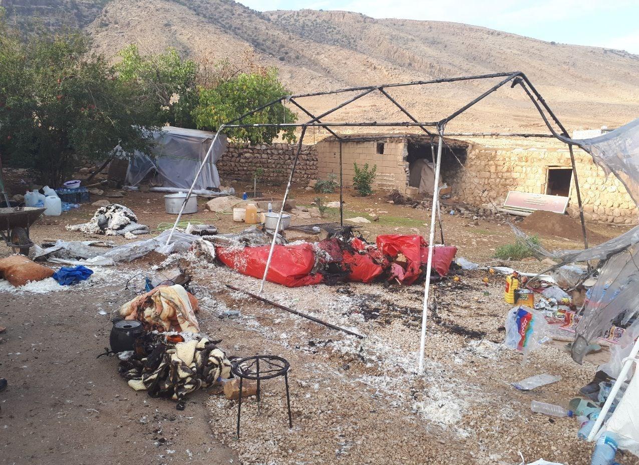 آتش سوزی در چادر زلزله زدگان غرب کشور سرپل ذهاب + عکس