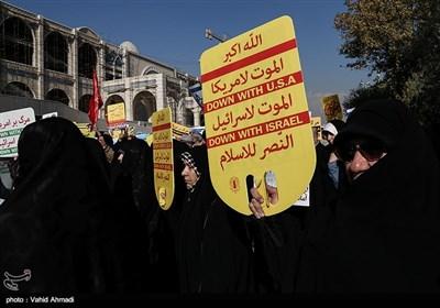 متظاهرو طهران یدینون نقل عاصمة الکیان الصهیونی الى القدس