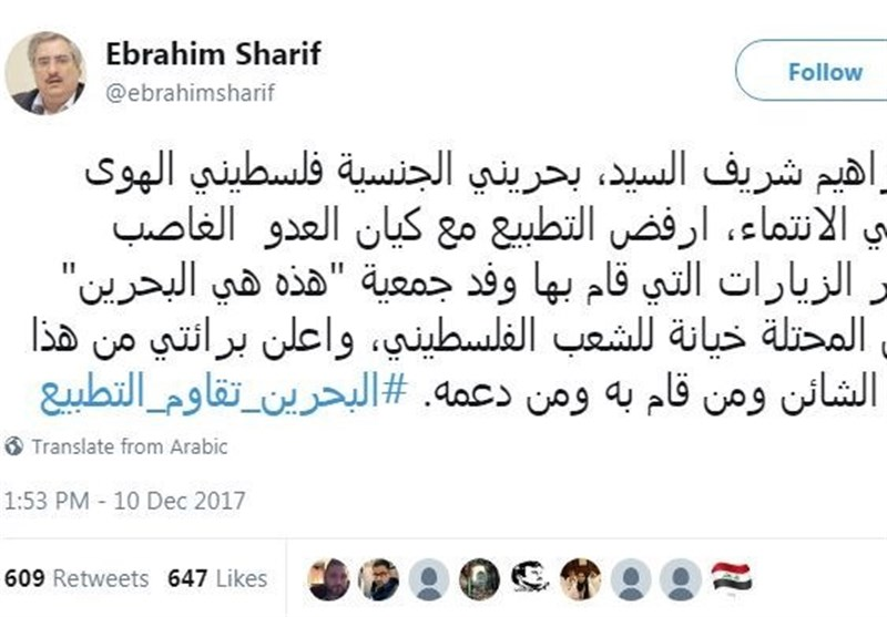 Bahrainis Condemn Regime's Move to Send Delegation to Occupied Palestine