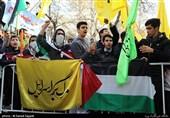 تجمع دانشآموزان تهرانی در اعتراض به تصمیم ترامپ