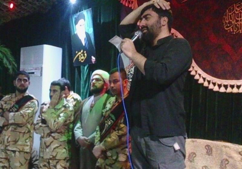 روضهخوانی مداح فاطمیون بالای سر پیکر فرمانده شهید+فیلم