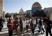فلسطین| یورش دهها شهرکنشین صهیونیست به مسجدالاقصی