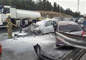تصادف هیوندا و پژو 206 در بزرگراه شهید بابایی + تصاویر
