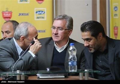 نشست خبری گرشاسبی سرپرست، برانکو سرمربی و افشین پیروانی مدیر تیم فوتبال پرسپولیس