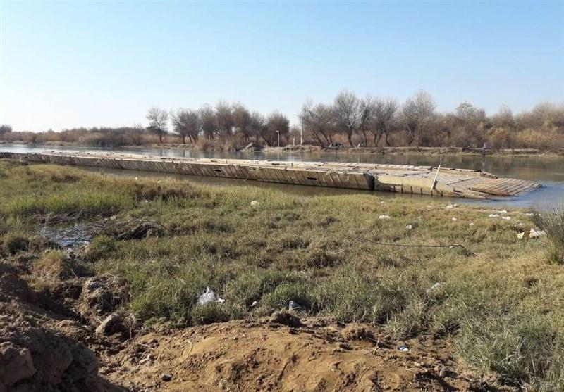 پل شناور رودخانه کرخه بسته شد/بازی با مرگ اهالی فتحالمبین برای رفت و آمد