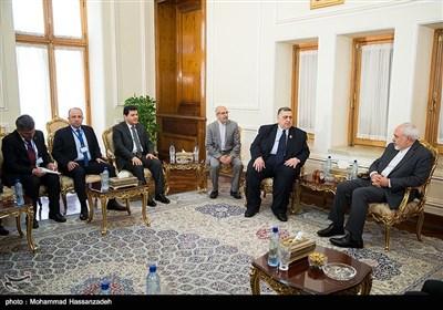 حموده یوسف صباغ رئیس مجلس سوریه و محمد جواد ظریف وزیر امور خارجه