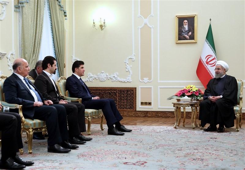 روحانی خلال استقبال بارزانی: القوى الاجنبیة لن تکون مشفقة على شعوب هذه المنطقة