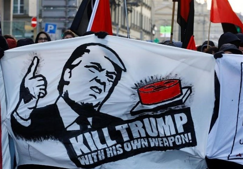 Swiss Marchers Protest Against Trump Break Through Davos
