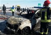 انفجار سیلندرهای گاز باعث تخریب 2 مغازه و آتش گرفتن 2 خودرو شد + تصاویر
