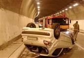 واژگونی پژو 207 در تونل بزرگراه پردیس + عکس